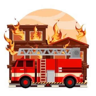 消防隊は、燃えている家に火を消すために消防車を運転して来ました