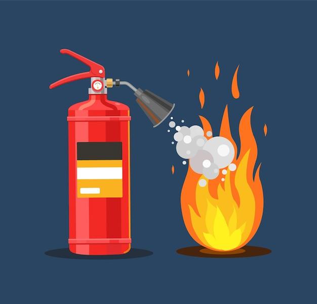 소화기는 거품 화재 안전 평면 벡터 일러스트와 함께 화재를 진압