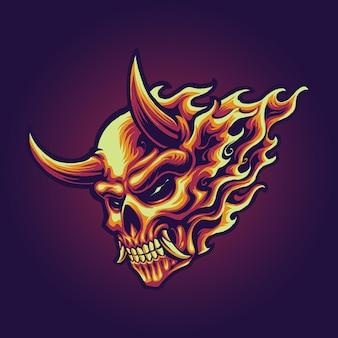 炎の頭蓋骨イラストベクトル