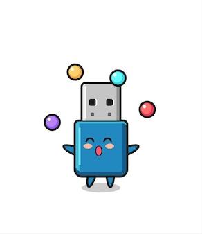 공을 저글링하는 플래시 드라이브 usb 서커스 만화, 티셔츠, 스티커, 로고 요소를 위한 귀여운 스타일 디자인