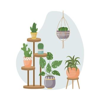 Плоский рисунок с домашними штанами в горшках. посадка. декоративные растения в интерьере дома. плоский стиль.