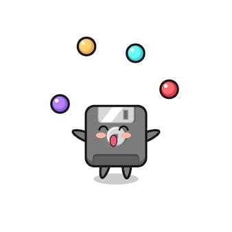 공을 저글링하는 플로피 디스크 서커스 만화, 티셔츠, 스티커, 로고 요소를 위한 귀여운 스타일 디자인