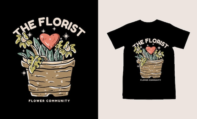 愛のtシャツのデザインを持つ花屋