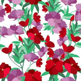 紫色のカーネーションと赤い花の花の夏。