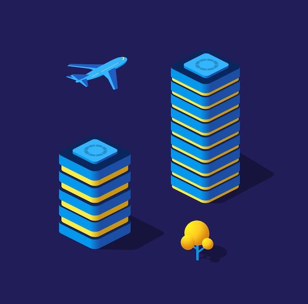 Летающий самолет ночной умный город 3d будущее неоновый ультрафиолетовый набор изометрических зданий городской инфраструктуры.