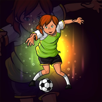 イラストのサッカーの女の子プレーヤーeスポーツロゴデザイン