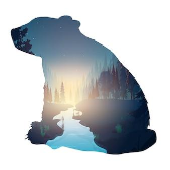 Лес внутри медведя. силуэт медведя. внутри таинственного ночного леса с луной.