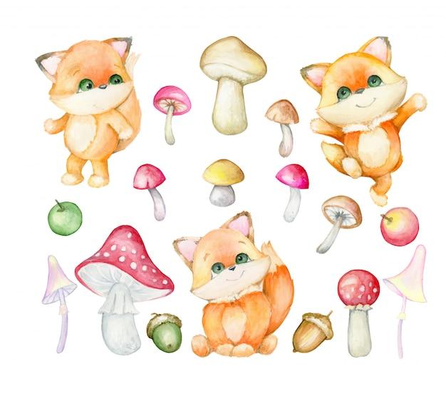 キツネはかわいいです。森の赤狐、紅葉。セット、水彩。