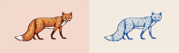 キツネは森の赤い動物や生姜獣のベクトル刻まれた手描きのビンテージスケッチを離れて見ます