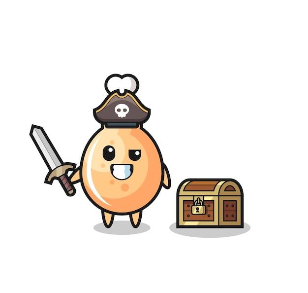 宝箱の横に剣を持っているフライドチキン海賊キャラクター、tシャツ、ステッカー、ロゴ要素のかわいいスタイルのデザイン