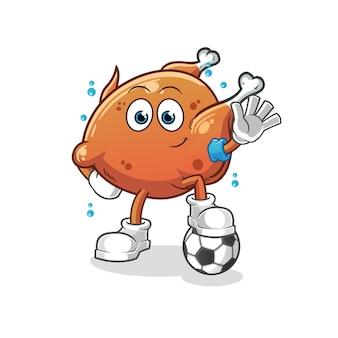 Жареный цыпленок играет в футбол иллюстрации. мультфильм талисман талисман