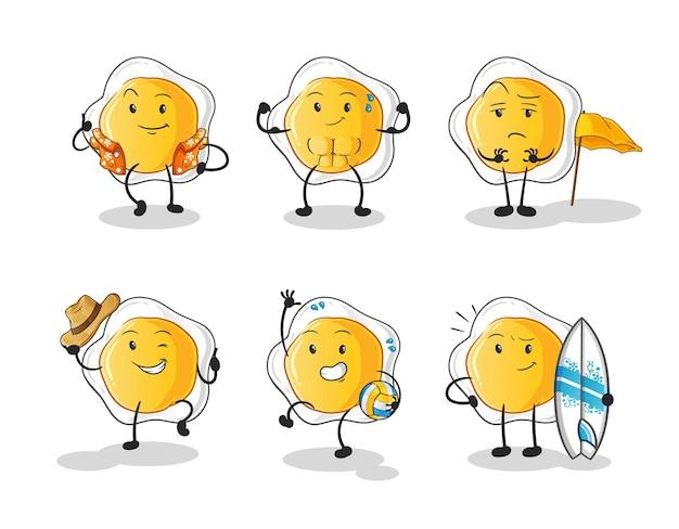 달걀 프라이 해변 휴가 세트 캐릭터. 만화 마스코트