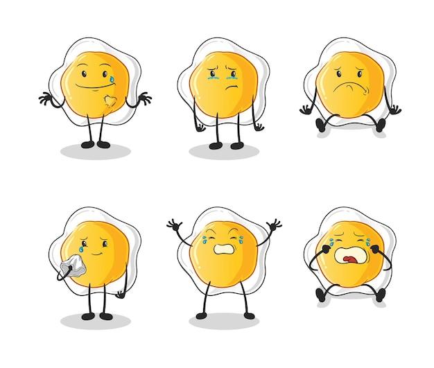 계란 후라이 슬픈 그룹 캐릭터. 만화 마스코트