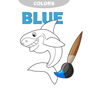 白い背景の上のフレンドリーで陽気な親切な笑顔のサメの輪郭線。漫画のベクトルイラスト。塗り絵-青の色を学ぶ