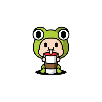 Костюм персонажа лягушки пьет кофе