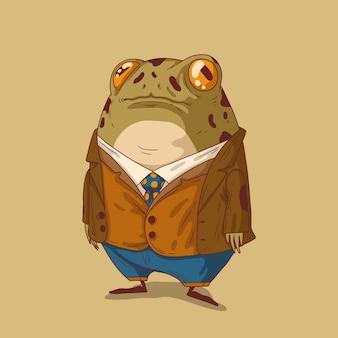Джентльмен-лягушка в стильной одежде отправился гулять в сад с друзьями в прохладную погоду.