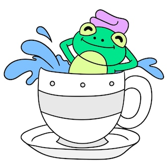 Лягушка принимает теплую ванну в чашке, каракули рисовать каваи. векторная иллюстрация искусства