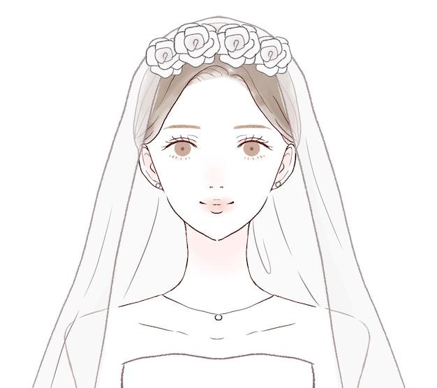 花嫁のフロントとバストアップ。白い背景に。