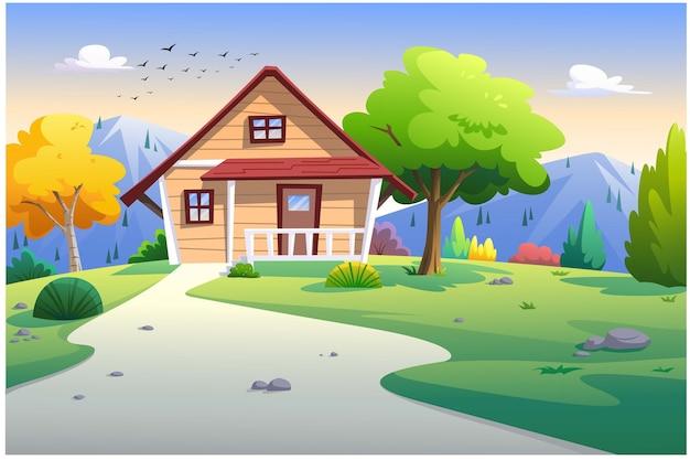 家の正面図は朝に山と木があります。
