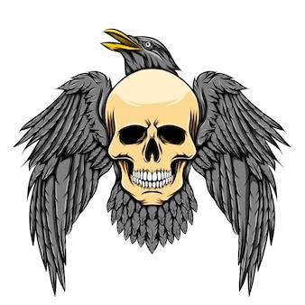 독수리의 전신은 죽음의 해골 머리를 쥐고 있습니다.