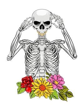 Полные кости людей смерти с цветами