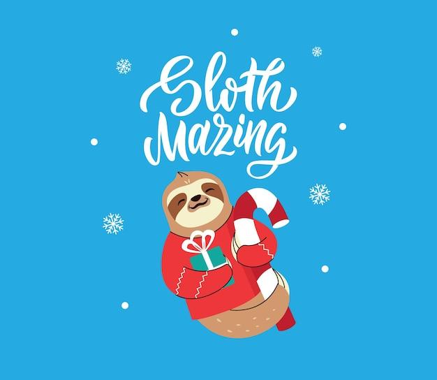 明けましておめでとうございますキャンディケインの面白い動物テキストとナマケモノはクリスマスカードに適しています