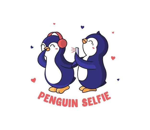 Смешные пингвины делают селфи. мультяшные животные в путешествии. картинка с буквенной фразой.