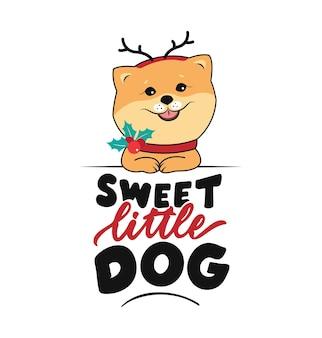 재미있는 강아지와 레터링 문구 크리스마스 시간 디자인을 위한 달콤한 작은 개 스피츠