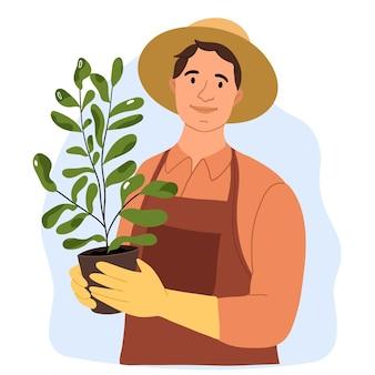 Садовник выращивает вазон