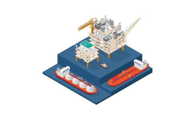 等角グラフィックスを備えたガスプラットフォーム、オフショアプラットフォーム、またはオフショア掘削リグ