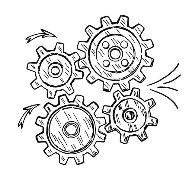 기어는 팀워크 아이디어 또는 솔루션을 나타냅니다. 추상 기어 바퀴가 있는 개념적 벡터 스케치