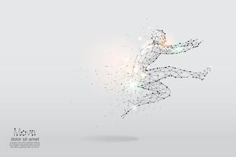 人間の跳躍の幾何学的な芸術、線、そして点。