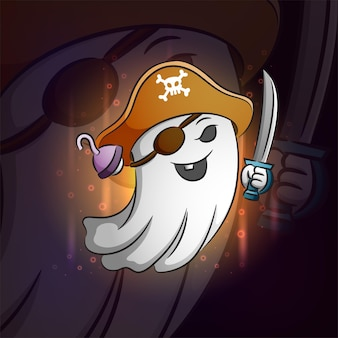 イラストのeスポーツロゴデザインの幽霊海賊