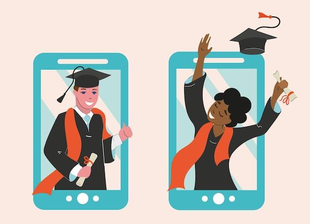 Девушка и парень получили диплом в онлайн-формате, выпускной. дистанционное обучение.