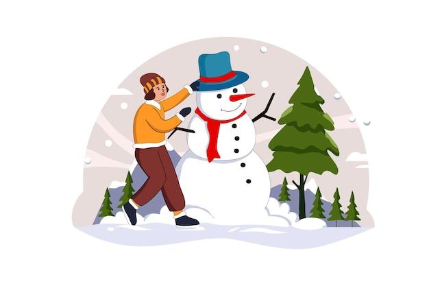 Девушка и снеговик с рождеством векторная иллюстрация квартиры