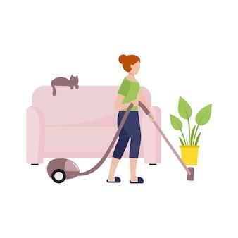 소녀는 진공 청소기로 방을 청소합니다. 주부는 방에서 청소를 합니다. 플랫 스타일의 플랫 여성 캐릭터. 전염병 covid-19 동안 자가 격리를 주제로 한 삽화