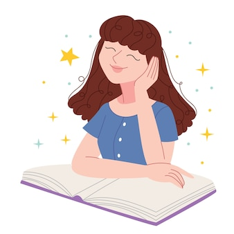 소녀는 꿈을 꾸고 읽습니다. 학생은 미래에 대해 생각합니다. 어린이 책에 대한 그림입니다.