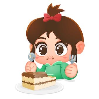 女の子はチョコレートケーキを食べます。漫画イラスト。