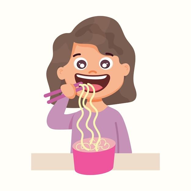 女の子は麺を食べます。フラットスタイルのベクトル図