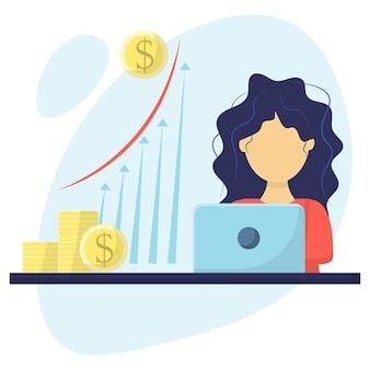 Девушка финансирует женщина-финансист предлагает план увеличения доходов рост прибыли