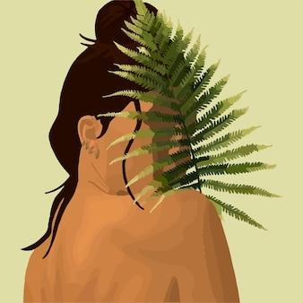 女の子はシダの葉の後ろに隠れます