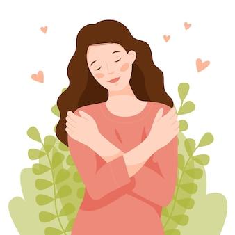 소녀는 어깨로 자신을 껴안고 여자는 자신의 몸을 사랑하고 자신을 돌본다