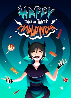 お菓子の雨の中でハロウィンの魔女衣装の女の子。幸せなハロウィーンのイラスト漫画アニメスタイル。