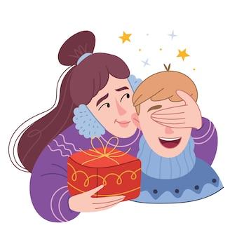 겨울 헤드폰을 쓴 소녀가 남자 친구에게 선물을 준다. 그녀는 놀람을 만들기 위해 눈을 감았 다.
