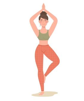 Девушка занимается йогой. практика йоги и образ жизни. векторная иллюстрация.