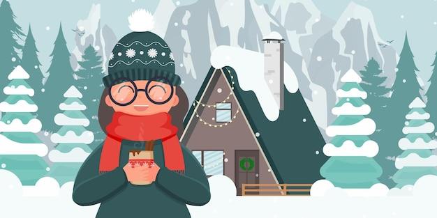 Девушка пьет во дворе горячий напиток. дом в заснеженном лесу. вектор.
