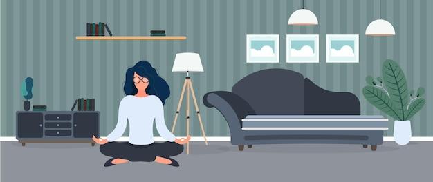 소녀는 방에서 명상을하고 있습니다. 소녀는 요가를 연습합니다. 방, 소파, 그림, 책장. 삽화