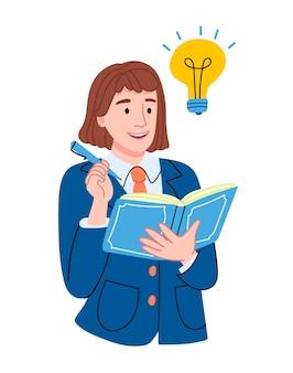 소녀는 시험을 준비하고 있습니다. 학생이 아이디어를 내놓았습니다. 책을 가진여 학생입니다.