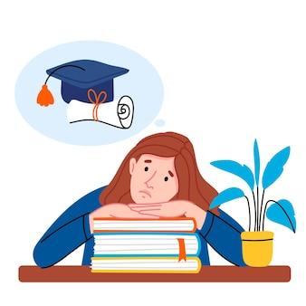 소녀는 시험을 준비하고 있습니다. 학생은 대학 입학을 걱정합니다.