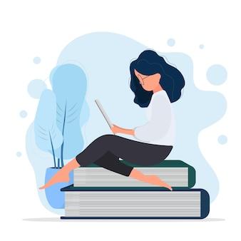 소녀는 책의 산에 앉아 있다. 여자는 책을 읽고 있습니다. 벡터.